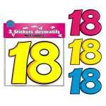 3 stickers décoratifs 18 ans