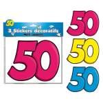 3 stickers décoratifs 50 ans