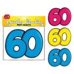 3 stickers décoratifs 60 ans
