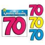 3 stickers décoratifs 70 ans