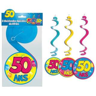 3 guirlandes spirales 50 ans