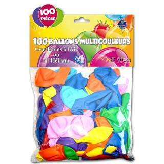 100 ballons couleurs assorties