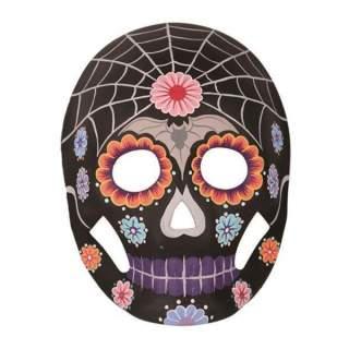 Masque squelette noir décoré