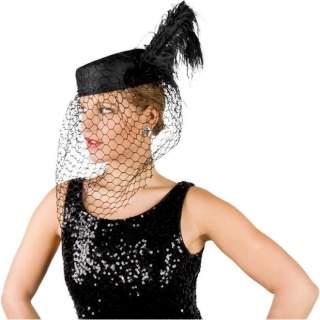 Chapeau avec voile veuve noire