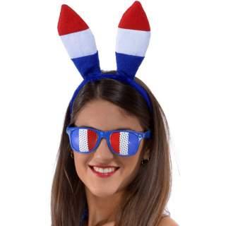 Serre-tête oreilles lapin tricolore France