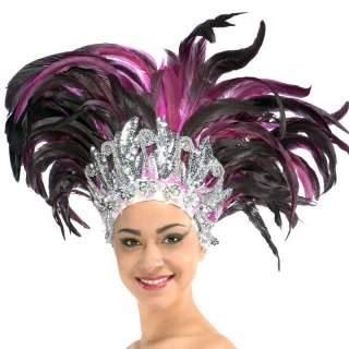 Coiffe carnaval à plumes fuchsia