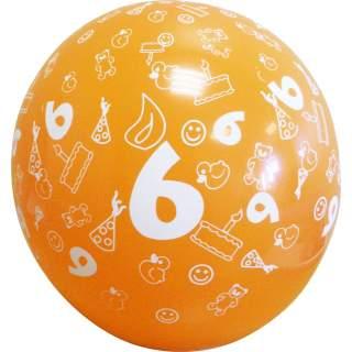 Sachet de 10 ballons chiffre 6