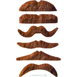 Pack de 12 moustaches chatain clair