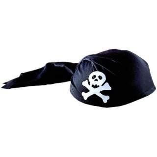 Coiffe pirate tête de mort noir
