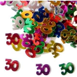 Confettis chiffre 30 multicolores