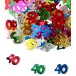 Confettis chiffre 40 multicolores