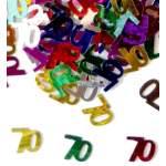 Confettis chiffre 70 multicolores