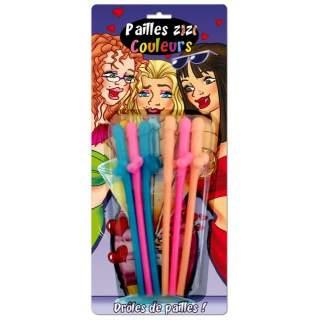 6 pailles zizi couleurs