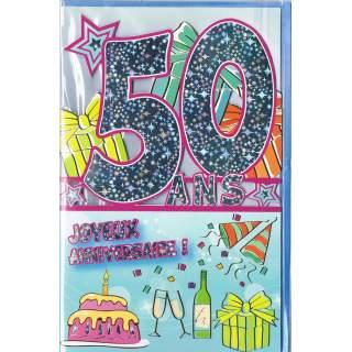 Carte Joyeux Anniversaire 50 Ans Mega Fete