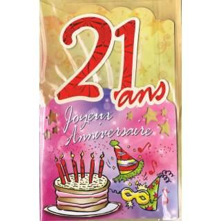 Carte Joyeux Anniversaire 21 Ans Mega Fete
