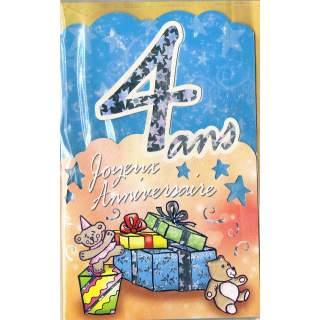 Carte Joyeux Anniversaire 4 Ans Mega Fete