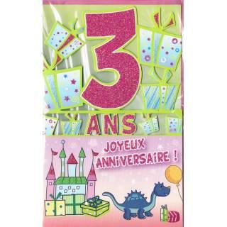 Carte Joyeux Anniversaire 3 Ans Mega Fete