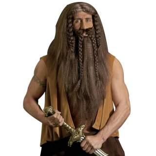 Perruque de barbare avec tresses et barbe