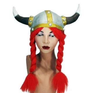 Casque viking avec tresses rousses