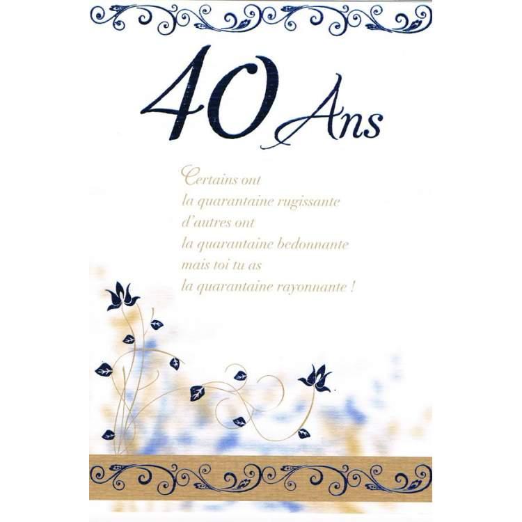 Carte Anniversaire 40 Ans Mega Fete