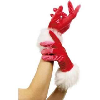 Gants Miss Santa en velours avec fourrure